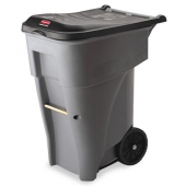 Rubbermaid - Brute Rollout Trash Can, 65 gal Square Gray Plastic