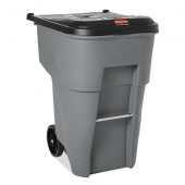 Rubbermaid - Brute Rollout Trash Can, 95 gal Square Gray Plastic