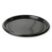 "Fineline Settings - Platter Pleasers Thermoform Tray, 12"" Round Black Plastic"