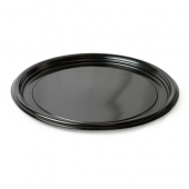 "Fineline Settings - Platter Pleasers Thermoform Tray, 16"" Round Black Plastic"