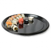 "Fineline Settings - Platter Pleasers Thermoform Tray, 18"" Round Black Plastic"
