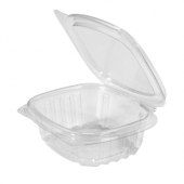 Genpak - Deli Container with Hinged Lid, 4 oz Clear Plastic