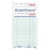 Guestcheck Paper, Single Paper Green with Perforated Order Receipt Stub, 17 Lines, 3.5x7