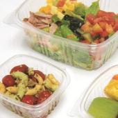 Deli Container with Hinged Lid, 32 oz Clear RPET Plastic
