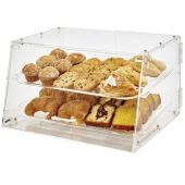 Winco - Acrylic Display Case, 2 Tray with Front and Rear Hinged Doors