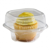 Direct Pack - Single Cupcake Container, 4.87x4.25x3.13 Clear PLA Plastic