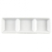 Vertex China - Argyle Sauce Dish with 3 1.5 oz Wells, 2.25x7.25 Porcelain White