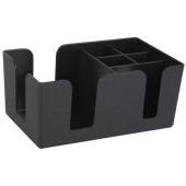 Winco - Condiment Caddy, 6 Compartment Black Plastic