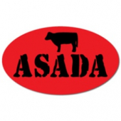 "Label, 'Asada', 1.5"" Radiant Red Oval"