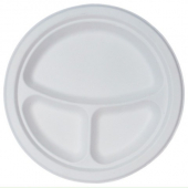 "Go-Green Tableware - Biodegradable (Bagasse) Plate,  3 Compartment 10"" Round"