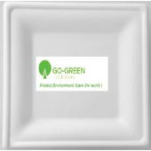 "Go-Green Tableware - Biodegradable (Bagasse) Plate, 10"" Square"