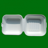 Go-Green Tableware - Biodegradable (Bagasse) Hamburger Food Container with Hinged Clamshell Lid, 6""