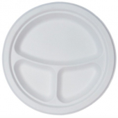 "Go-Green Tableware - Biodegradable (Bagasse) Plate,  3 Compartment 9"" Round"