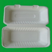 Go-Green Tableware - Biodegradable (Bagasse) Food Container with Hinged Clamshell Lid, 9x6