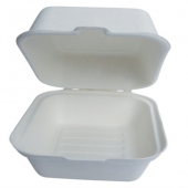 "Go-Green Tableware - Biodegradable (Bagasse) Food Container with Hinged Clamshell Lid, 9"" Square"