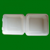 "Go-Green Tableware - Biodegradable (Bagasse) Food Container with Hinged Clamshell Lid, 8"" Square"