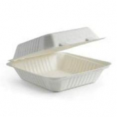 Biodegradable Food Container with Hinged Lid, 1 Compartment 7.8x8x3