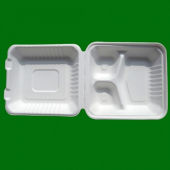 "Go-Green Tableware - Biodegradable (Bagasse) Food Container with Hinged Clamshell Lid, 8"" Square 3 C"