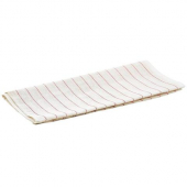 Winco - Glass Polishing Towel, 16x29 White Cotton with Red Pinstripes