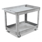 Utility Cart, Gray with 2 Shelves, 24x40 Plastic Resin