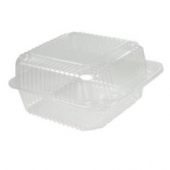 "Dart - Container, 6"" Clear Plastic Staylock Hinged Lid, Square, 6x6x3"