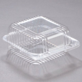 "Dart - Container, Staylock Clear Hinged Lid Container, 5"" Square Clear Plastic"