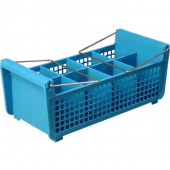 Carlisle - Flatware Basket with Handles, 17x7.75x6.9 Blue, 8 Compartment