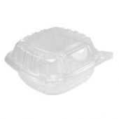"Dart - Container, 5"" Clearseal Hinged Sandwich Container with Lid, Clear Plastic, 5x5x3"