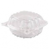 "Dart - Container, 6"" Clearseal Hinged 1 Compartment Container with Lid, Clear Plastic, 6x6x3"
