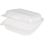 "Dart - Container, 9"" Clearseal Hinged 1 Compartment Container with Lid, Clear Plastic, 9x9.5x3"