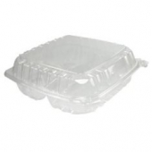 "Dart - Container, 9"" Clearseal Hinged 3 Compartment Container with Lid, Clear Plastic, 9x9.5x3"