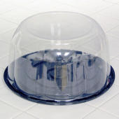"Pactiv - Cake Container, 10.25"" Black Plastic Base with 5.25"" Clear Plastic Dome Lid"