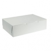 Cake/Bakery Box, Non-Window Corner Lock, White, 14x10x4, 1/4 Sheet Cake