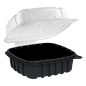 Anchor - Culinary Basics Food Container, 6x6 with Black Base and Clear Hinged Clamshell Lid