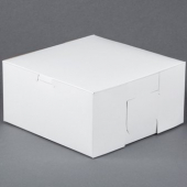Cake/Bakery Box with Locking Corners, 8x8x4, White