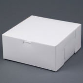 Cake/Bakery Box with Locking Corners, 9x9x4, White