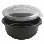 "Anchor - Incredi-Bowl, 6"" Round 16 oz Black Polypropylene Bowl with Combo Lid"