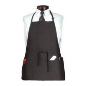 Chef's Line - Apron, Bib with 3 Center Pockets, 26x23 Black Cotton with Adjustable Neck, each