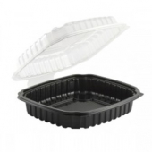 Anchor - Culinary Light Food Container, 9x9 with Black Base and Clear Hinged Clamshell Lid