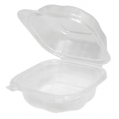 Genpak - Clover Hinged Sandwich Container, Large 5.84x6.25x2.88 Clear PP Plastic