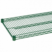 Wire Shelf, 24x60 Green Epoxy Coated with 4 Set Plastic Clip