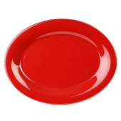 Platter, 13.5x10.5 Oval Pure Red Melamine