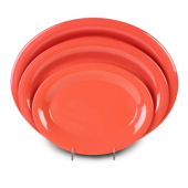 Platter, 13.5x10.5 Oval Red/Orange Melamine