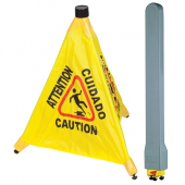 Winco - Caution Sign Pop-Up Safety Cone with Wall-Mount Storage Tube