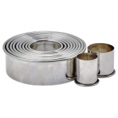 Winco - Cookie Cutters, Plain Round Stainless Steel, 11 Piece Set
