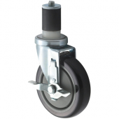 "Winco - Casters, Universal Worktable Stem Casters with Brake, 5"" Wheel and 4x4 Plate, 2 Piece Set"