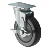 "Winco - Casters, Universal with Brake 2.375x3.625 Plate, 5"" Wheel, 2 Piece Set"