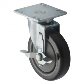 "Winco - Casters, Universal with Brake 3.5x3.5 Plate, 5"" Wheel, 2 Piece Set"