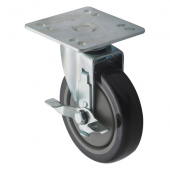 "Winco - Casters, Universal with Brake 4x4 Plate, 5"" Wheel, 2 Piece Set"