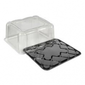 Sheet Cake Container Combo, 1/8 Size, Clear PET Plastic Dome Lid with Black PET Base